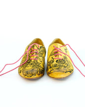 Handmade Illustrated Yellow Oxford Women's Shoes