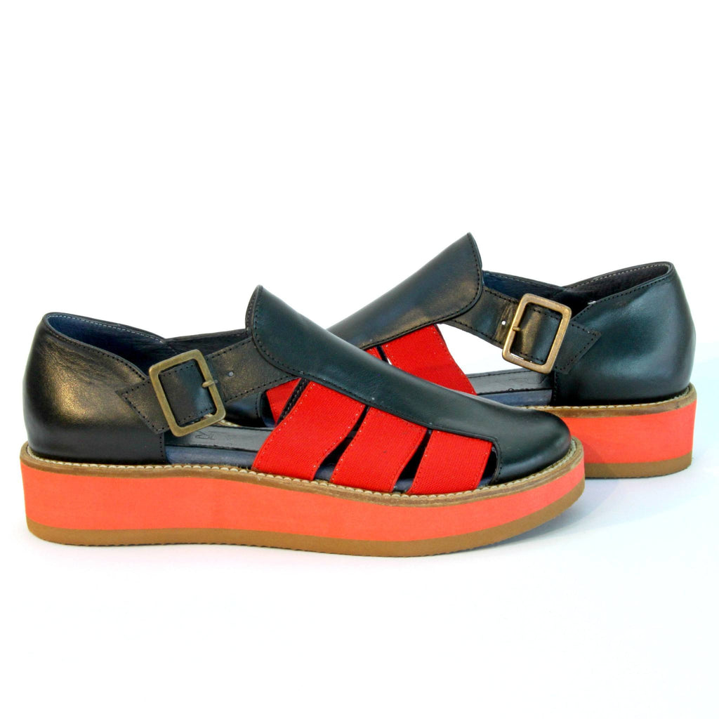 red rubber & Black Leather  Woman's  wedge Sandals