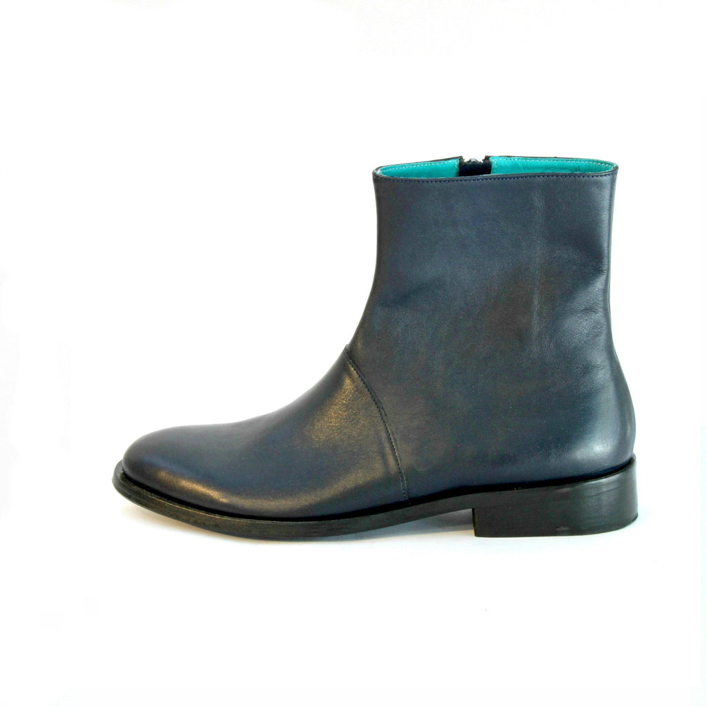 Navy blue calf zipper boots