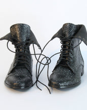 Black & Silver Lace up Boot