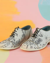 Handmade Illustrated Derby Women's shoes