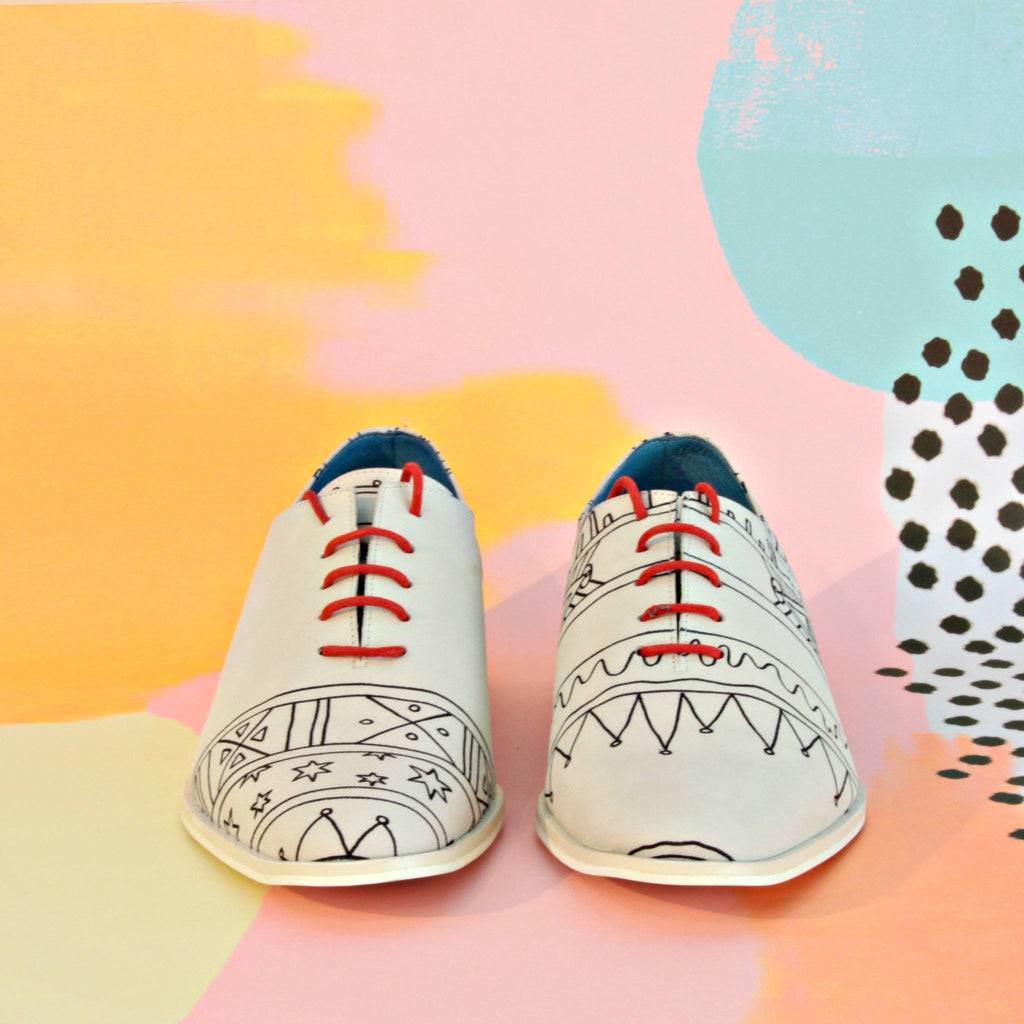 Handmade Illustrated Derby Men's shoes