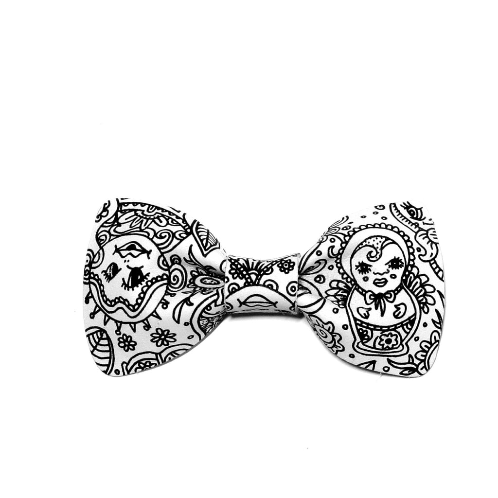 White Illustration Bow Tie