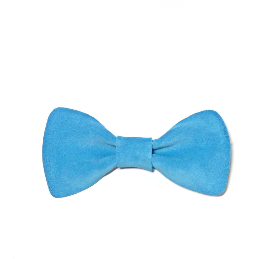 Bright Blue Suede Bow Tie