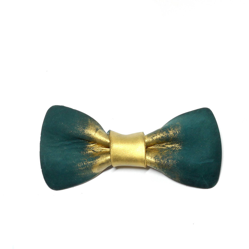 Green and Gold Nubuck Bow Tie