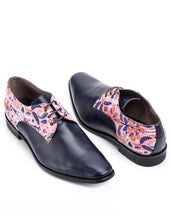 Navy Blue Calf Leather & Rifle pink stork garden party Derby Men's shoes
