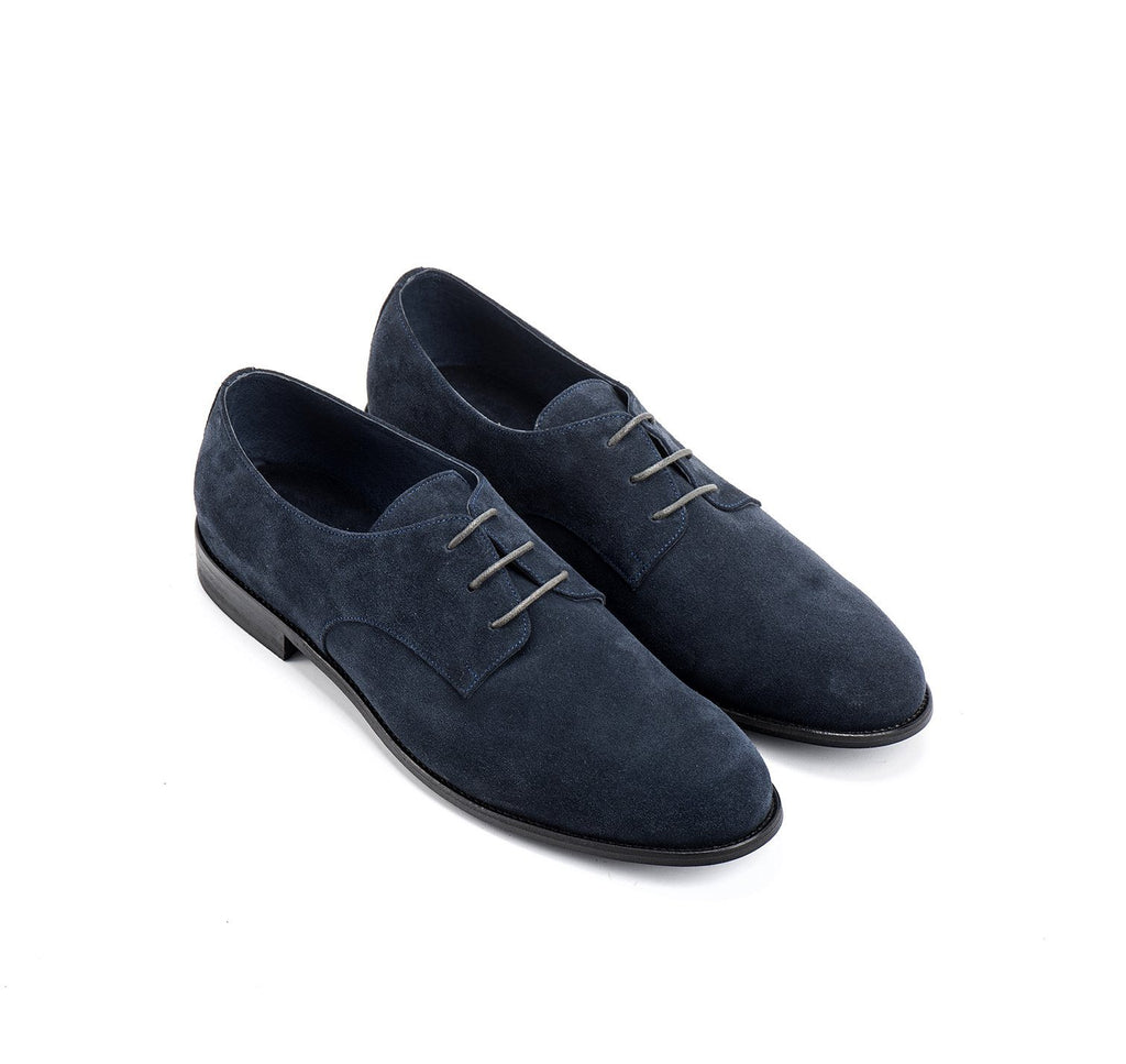 Navy Blue Suede round toe Men's Oxford Shoes