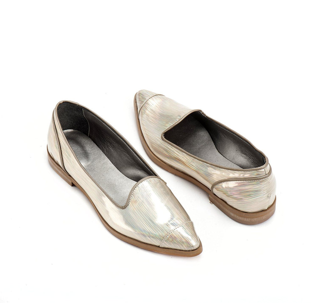 electric Champagne vegan ballerina  shoes