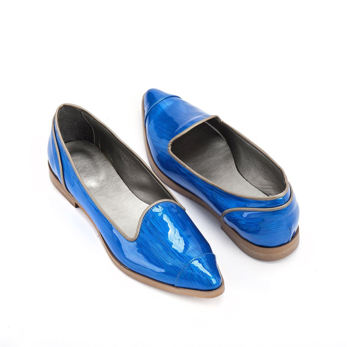 electric blue vegan ballerina  shoes