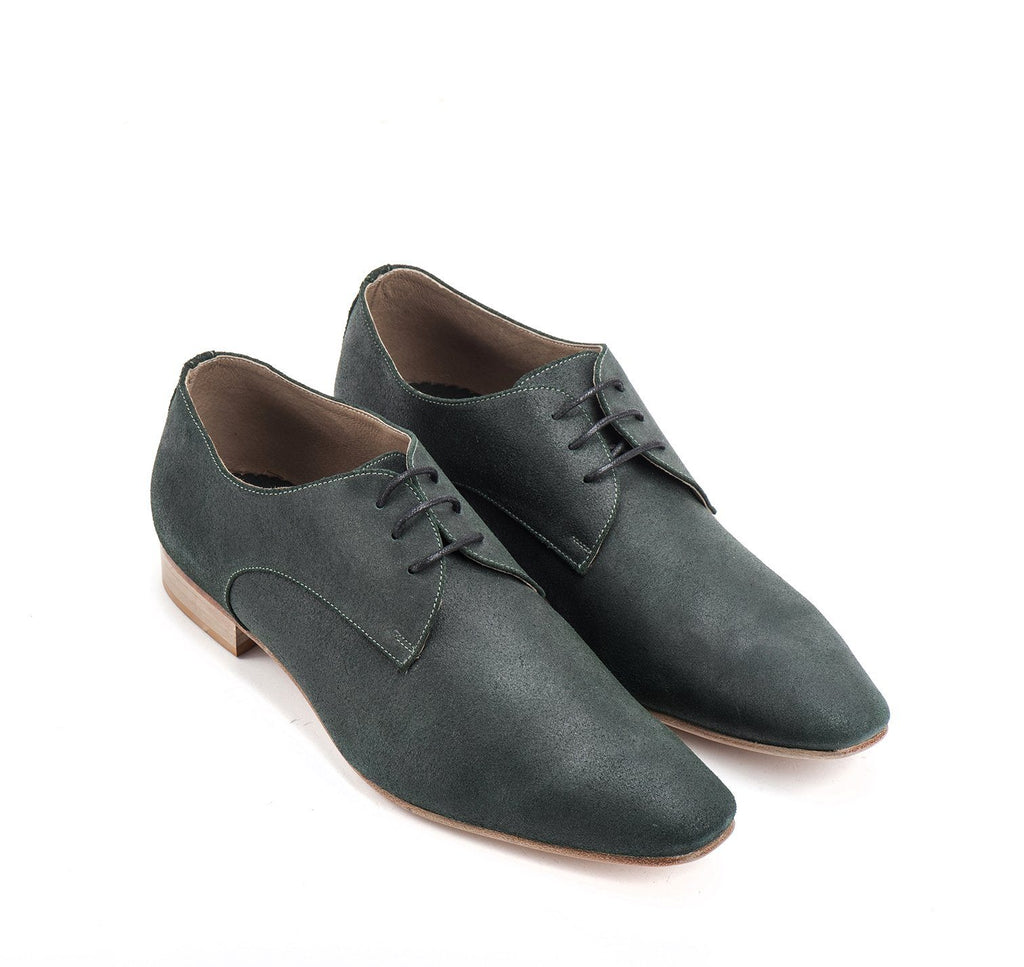 Dark green suede Oxford Men Shoes