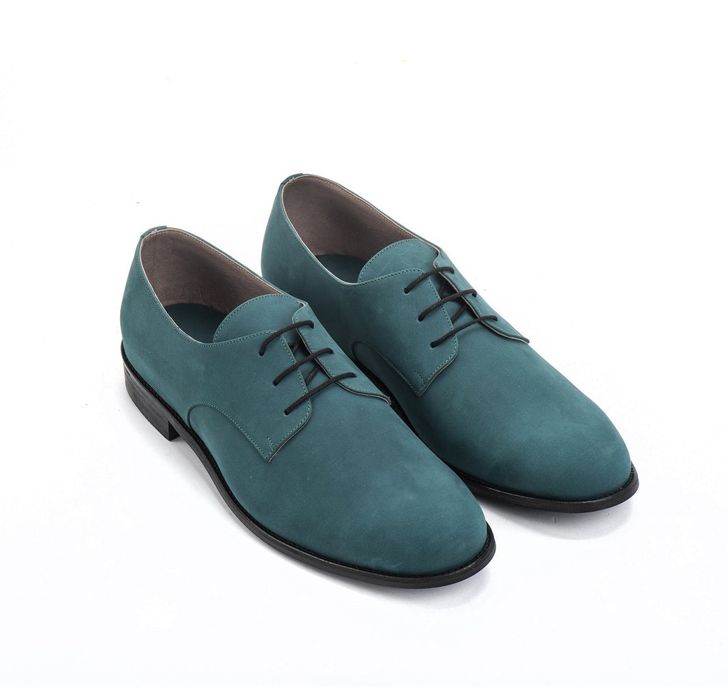 Deep Green Nubuck round toe Men's Oxford Shoes