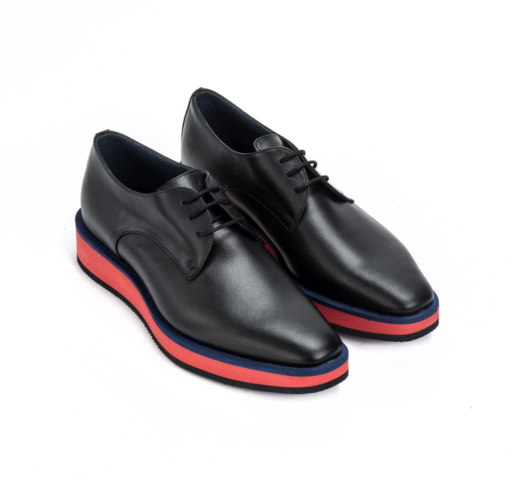 Black & red leather derby wedge Women's Shoes