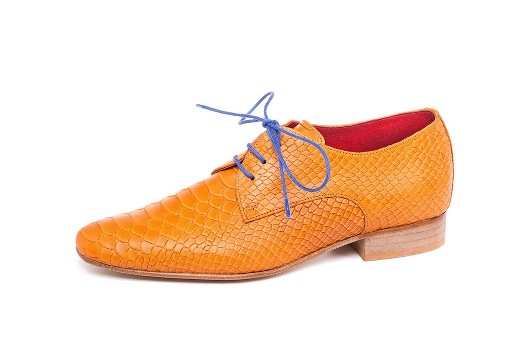 Orange Anaconda Oxford Women Shoes