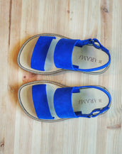 royal blue Leather  Woman's Sandals