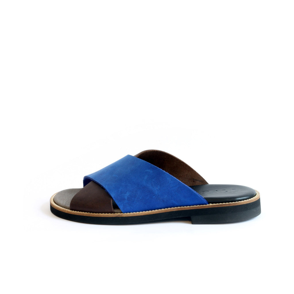 Brown & Blue Women's X Strap Sandals