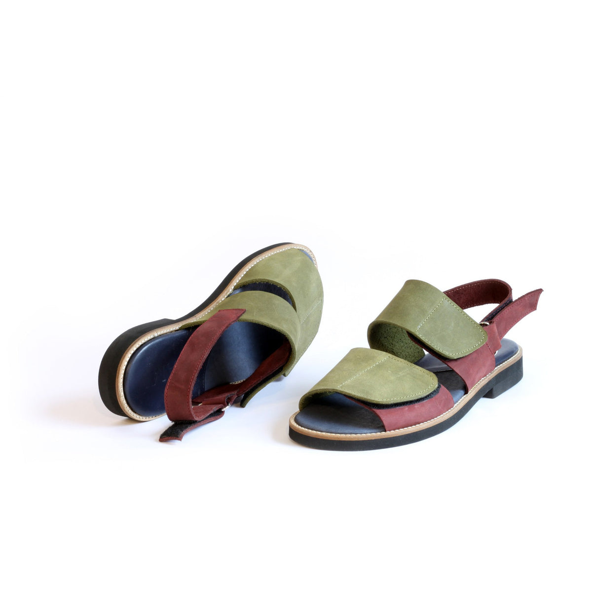 Olive Green & Maroon Women's Velcro Sandals