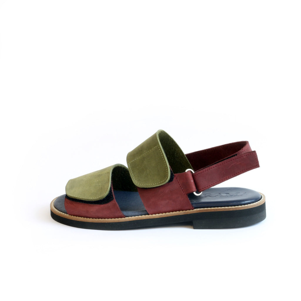 Olive Green & Maroon Men's Velcro Sandals