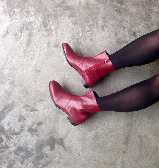Red Leather Zip Up Women's Boots