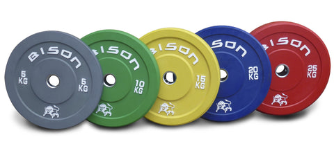 150kg Bison™ Colour Plate Set & 7ft 20kg GT Olympic Bar Package + Spring Collars