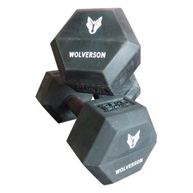 Rubber HEX Dumbbell Pairs - Wolverson Fitness