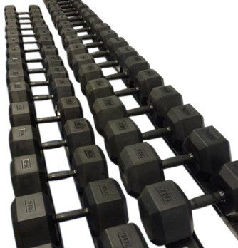 Rubber HEX Dumbbell Sets - Wolverson Fitness