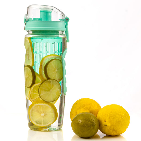 Aquamarine Fitinfuser Shaker Water Bottle with Insulating Sleeve