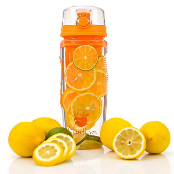 Fitinfuser Water Bottle with Fruit Flavor Infuser - Orange
