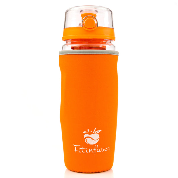 Orange Fitinfuser Shaker Water Bottle with Insulating Sleeve