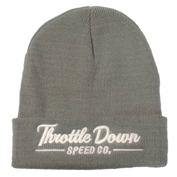 Beanie w/ white Logo - Throttle Down Speed Co.