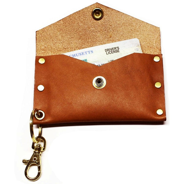 Riveted Leather Key Chain Cardholder - Throttle Down Speed Co.