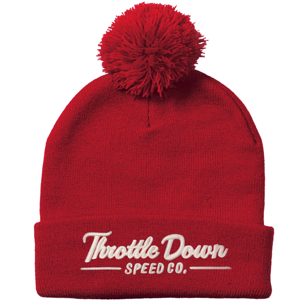 Pom Beanie w/ white logo - Throttle Down Speed Co.