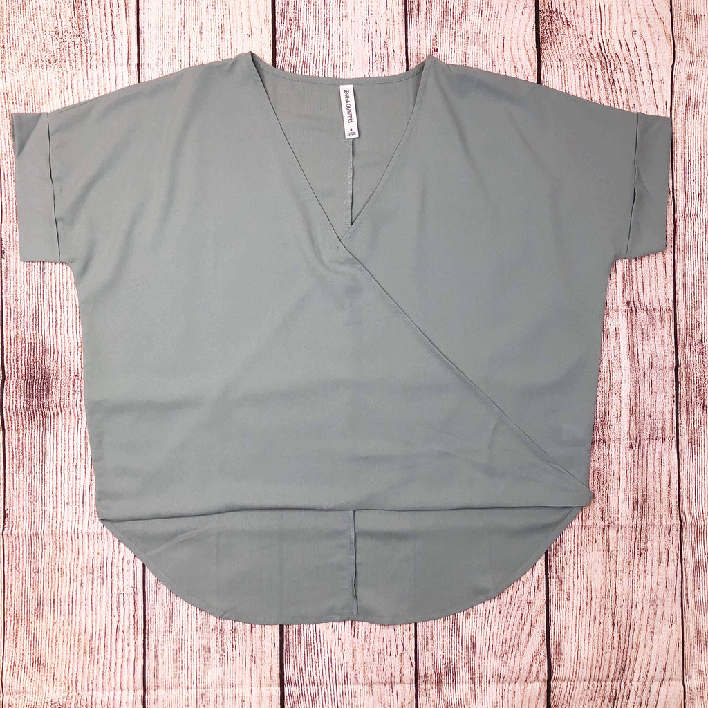 Woven Heavy Dobby Layered-Look Draped Front Top in Sage - Sweet Girls