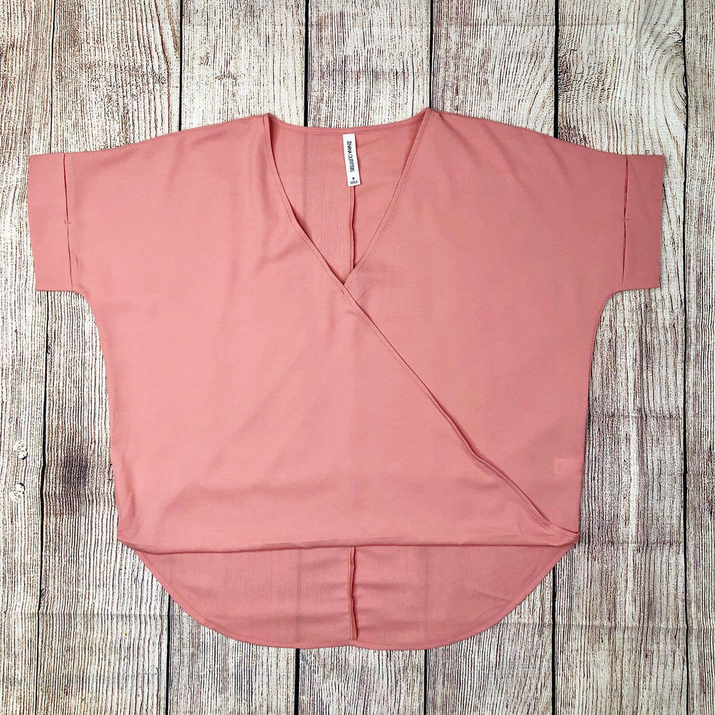 Woven Heavy Dobby Layered-Look Draped Front Top in Rose - Sweet Girls