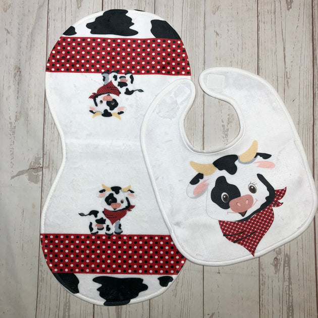 Cow Burp Cloth and Bib - Sweet Girls