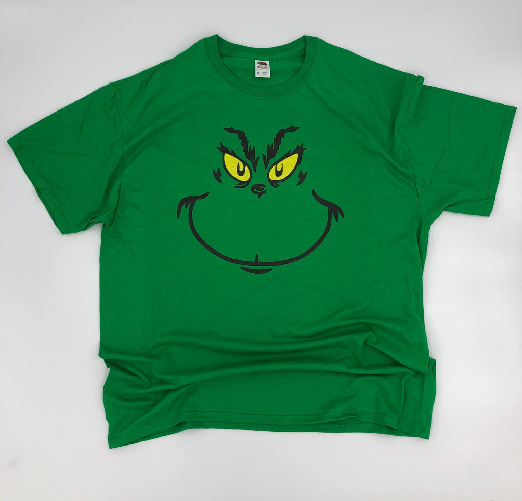 Grinch Face Adult Tee on Green