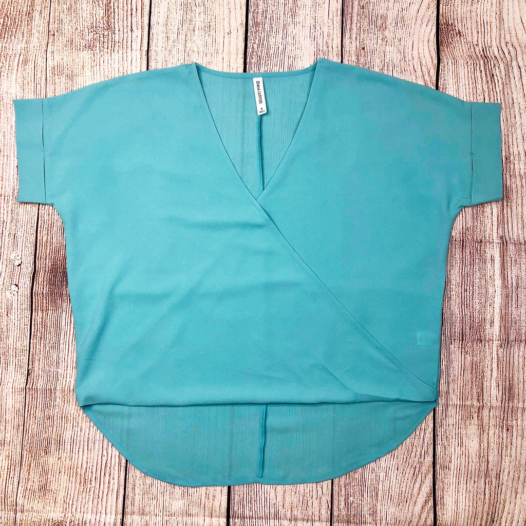 Woven Heavy Dobby Layered-Look Draped Front Top in Mint - Sweet Girls