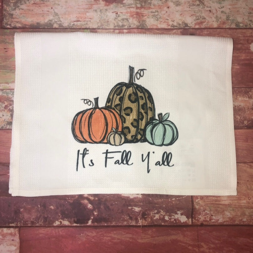 It's Fall Y'all Waffle Kitchen Towel - Sweet Girls
