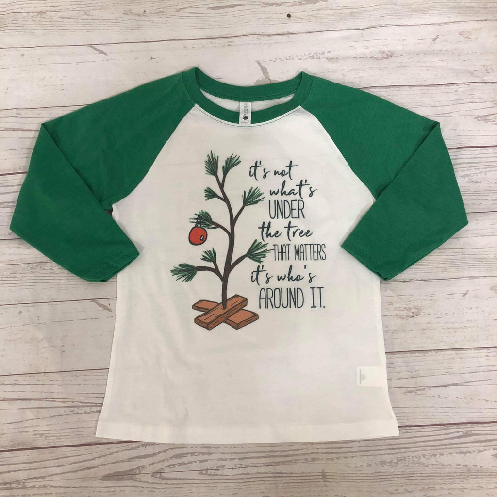 Its Not About Whats Under The Tree Kids Raglan - Sweet Girls
