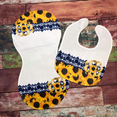Sunflower Burp Cloth and Bib Set
