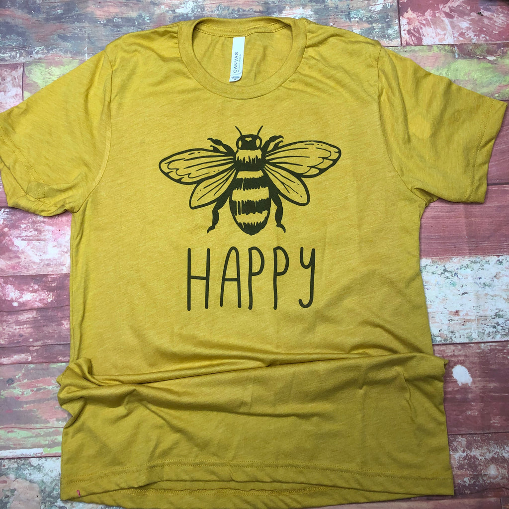 Bee Happy Bella Mustard Adult Tee - Sweet Girls