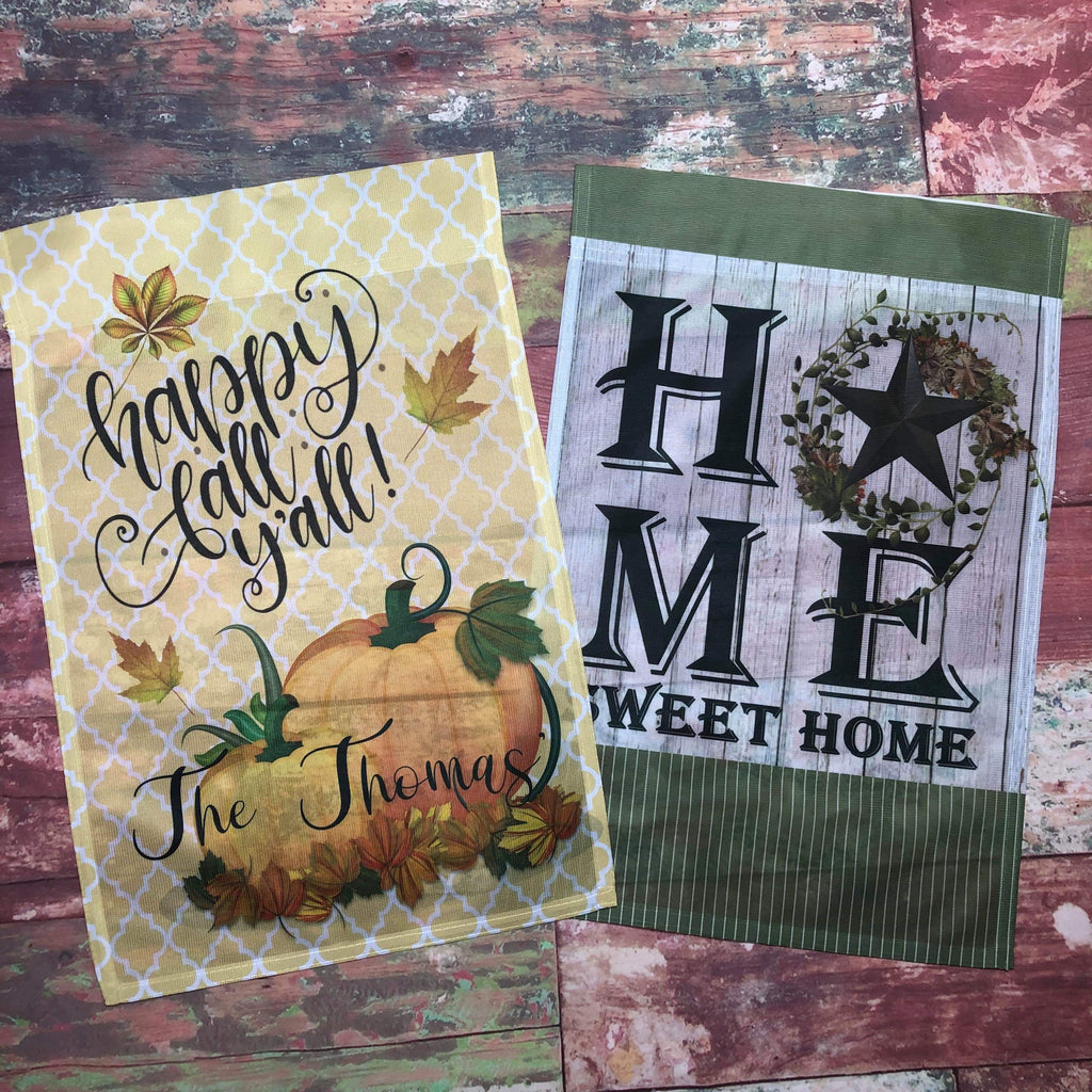 Happy Fall + HOME Garden Flags - Sweet Girls