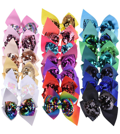 "4.5 Inch ""Mermaid"" Bows on Alligator Clip - Sweet Girls"