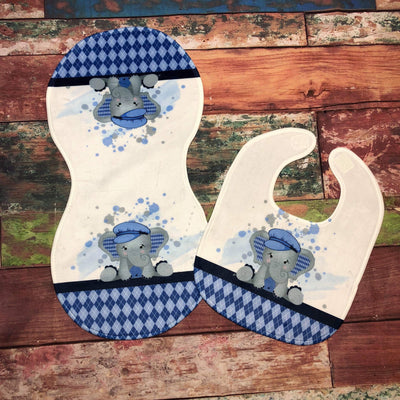 Blue Elephant Burp Cloth and Bib Set - Sweet Girls