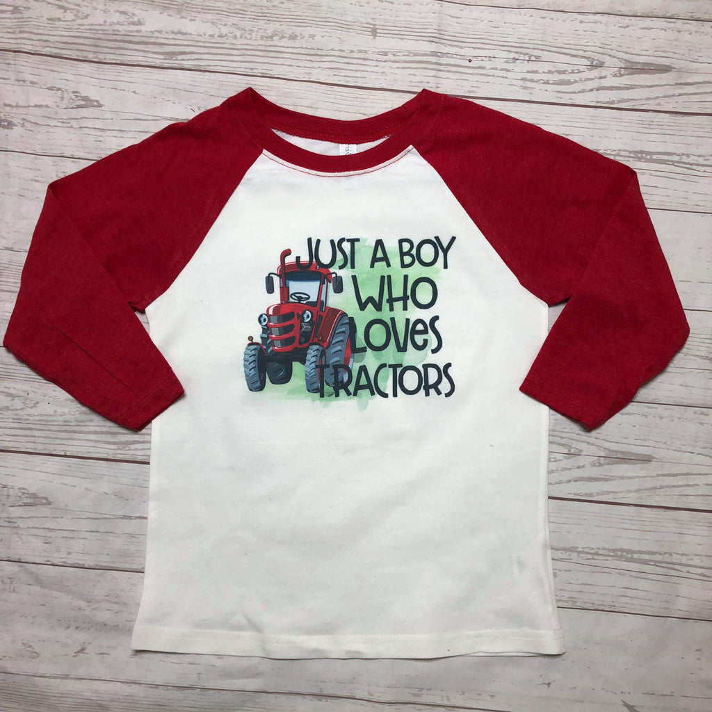 Just A Boy Who Loves Tractors Kids Raglan - Sweet Girls