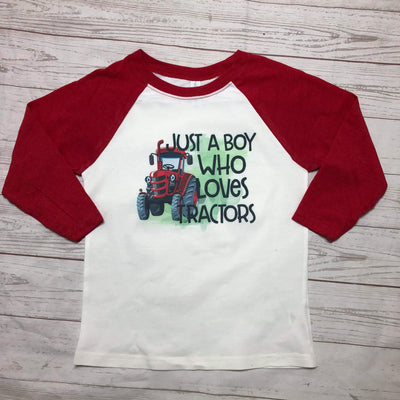 Just A Boy Who Loves Tractors Kids Raglan