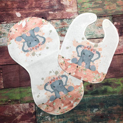 Elephant Burp Cloth and Bib Set - Sweet Girls