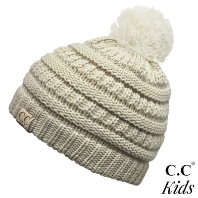 Solid Color Knit Pom Beanie for Kids - Sweet Girls