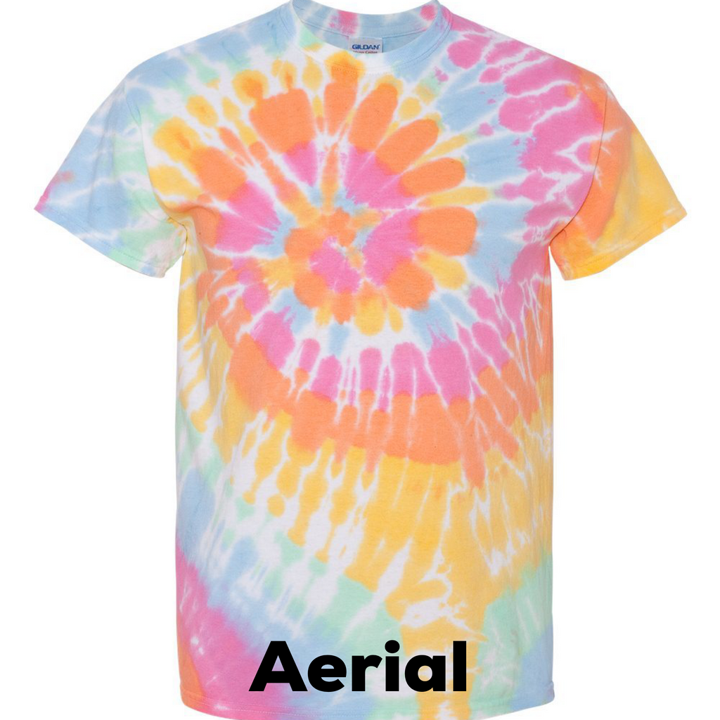 Multi Color Spiral Tye Dye Adult Tee - Sweet Girls