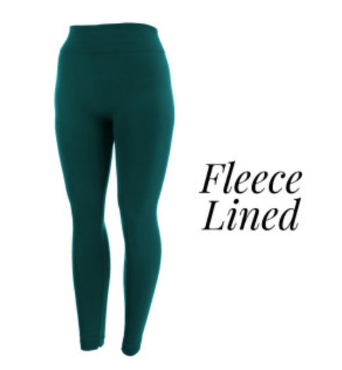 Women's Teal Fleece Lined Leggings - Sweet Girls