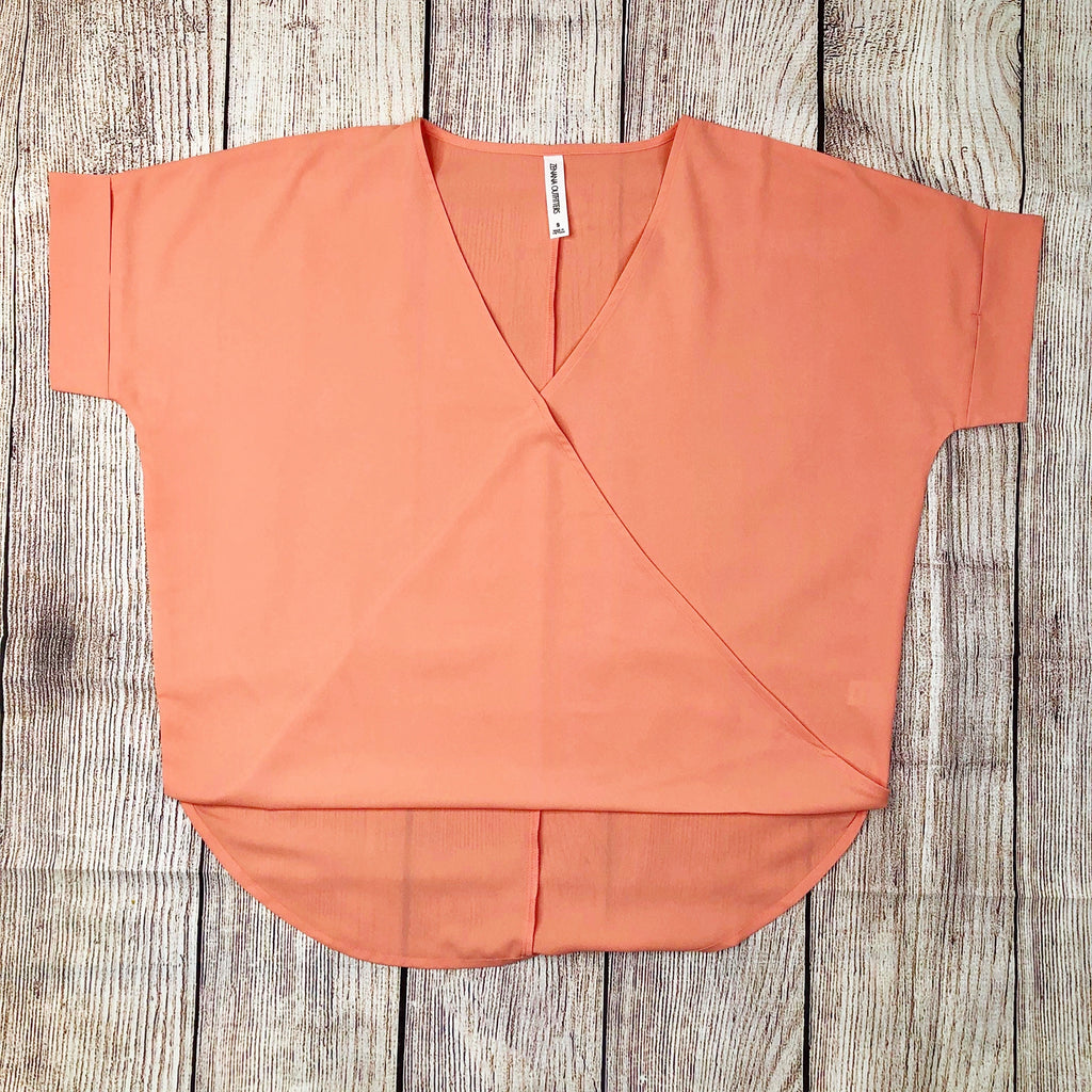 Woven Heavy Dobby Layered-Look Draped Front Top in Coral - Sweet Girls